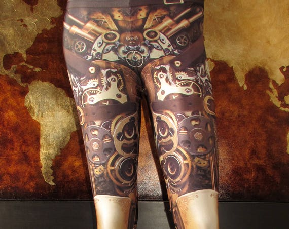 TAFI Steampunk Leggings - Gothic Mechanical Gears Machine Costume Yoga Pants 2017 Galaxy CosPlay Print
