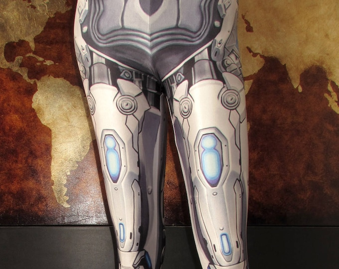 TAFI Machina Armor Leggings - Sci-Fi Robot Cyber Armour Costume Yoga Pants Galaxy CosPlay Print