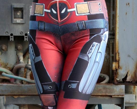 NEW! TAFI Deadpool : Comics Leggings  Wade Wilson Marvel Hero Custom Design Yoga Pants in Costume CosPlay Print