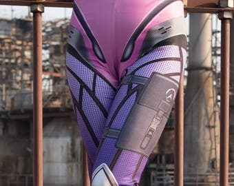 TAFI Widowmaker Overwatch Leggings - Blizzard Sci-Fi Video Game-inspired Body Armor Costume Yoga Pants 2018 CosPlay Designer Print