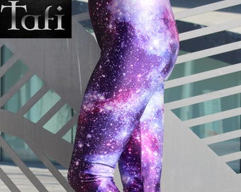 TAFI Galaxy Leggings Yoga Pants - Now in 8 Purple Sizes! Affordable Brand Name Alternative Nebula Aurora Space Print