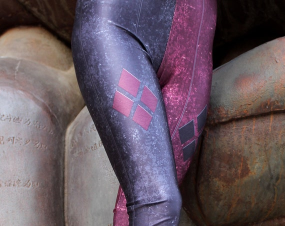 TAFI Harley Quinn Leggings - Batman Arkham City Costume or Yoga Pants Galaxy DC Comics Joker Super Hero CosPlay Print