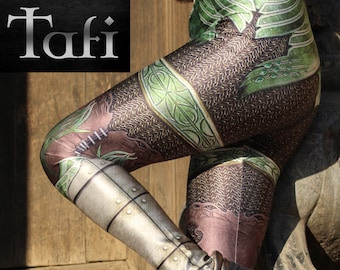 bf131c79eeee2 TAFI Fantasy Armor Leggings - Elven Green Plate Chain Mail Armour 3D  Printed Design Galaxy Dance Costume Yoga Pants