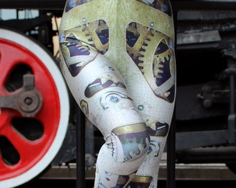 TAFI Clockwork Leggings - Steampunk Mechanical Gears Machine Costume Yoga Pants Galaxy CosPlay Print