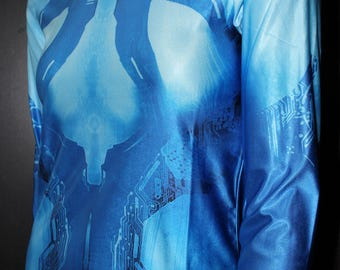 Halo Cortana Shirt - 343 Industries Sci-Fi Shooter Video Game Character-inspired Costume CosPlay Print