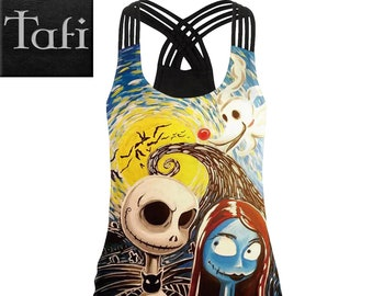 Tops - Stylish - TAFI Designer Shirt in 6 Styles in 4 Sizes - Skellington Ouija Gears Armor Harley Quinn Vest Style Fitness Fashion Tank Top