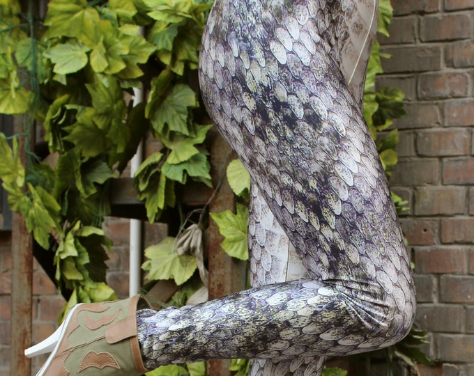 TAFI Rattle-Snake Skin Printed Leggings - Dragon-Scale Costume Limited Edition Design - Galaxy Yoga style  Pants