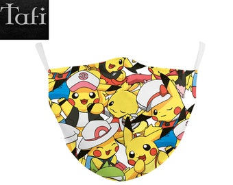Kids Masks - 6 Child-size Designs - Childrens Cloth Washable Reusable School Shopping Facemask PM2.5 Filter pocket Pokemon Pikachu Cat Bunny
