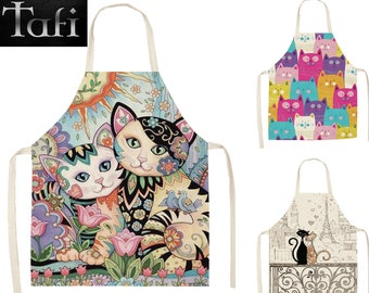Aprons - Pet Cats - 8 Styles 2 Sizes - Unisex Linen Kitty Bath Theme Print Grooming Kitchen Bathing Cooking Cleaning Cat Bib Smock Pinafore