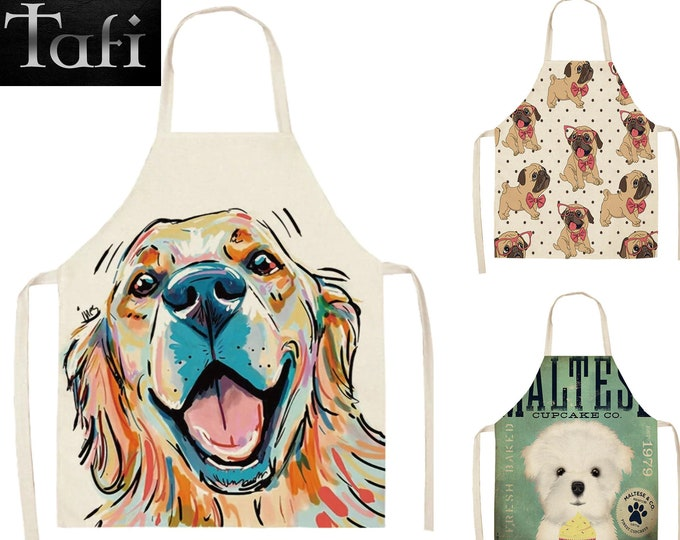Aprons - Pet Dogs - 8 Styles 2 Sizes - Unisex Linen Doggy Bath Theme Print Grooming Kitchen Bathing Cooking Cleaning Dog Bib Smock Pinafore