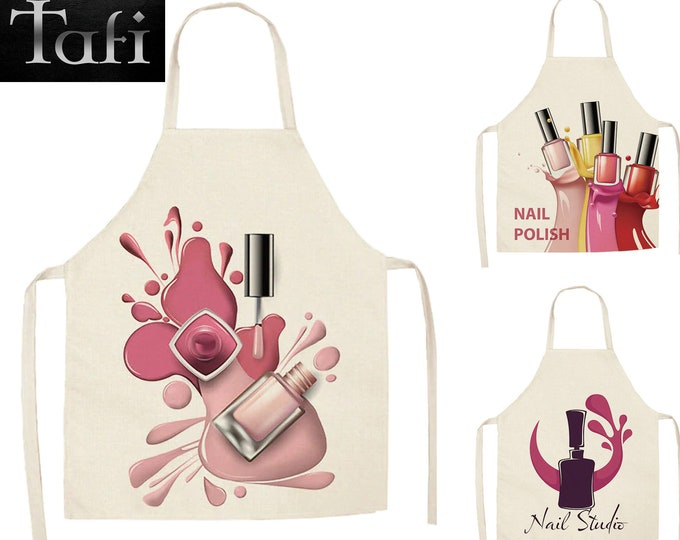 Aprons - Salon Designer - 16 Styles 2 Sizes - Linen Nail Polish Theme Print Kitchen Unisex Dinner Party Cooking Cleaning Bib Smock Pinafore