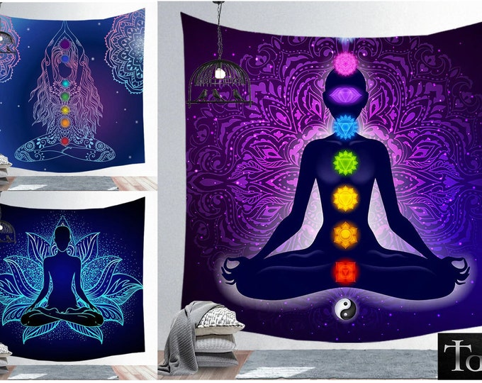 Tapestry - 16 Yoga Styles - TAFI Designer Print Wall Curtains in 4 Sizes - 7 Chakra Meditation Mandala Lotus Stars Magic Decor Wall Hanging