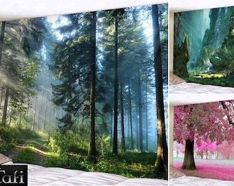Tapestry - 12 Forests Prints - TAFI Giant Wall Hangings in 8 Sizes - Trees Leaves Buddha Nature Wilderness Decor Wall Curtain Drape Backdrop