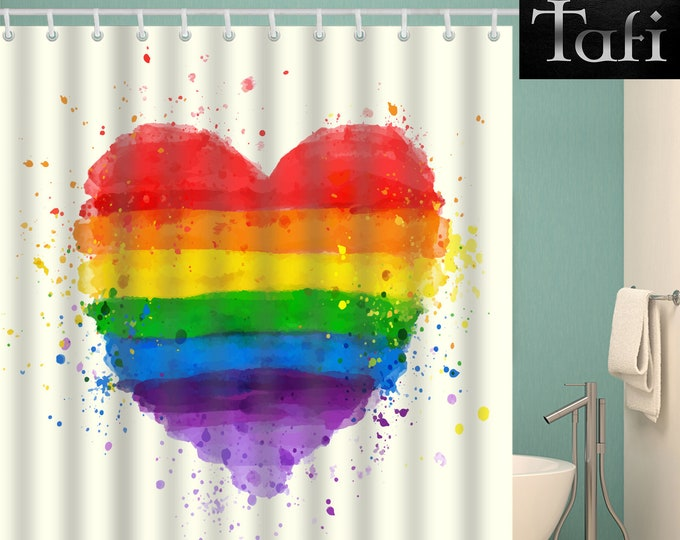 Shower Curtain - 9 Rainbow Prints - Designer Style Bath Decor Curtains - Waterproof Mildewproof Polyester Pride Hearts - 4 Bathroom Sizes