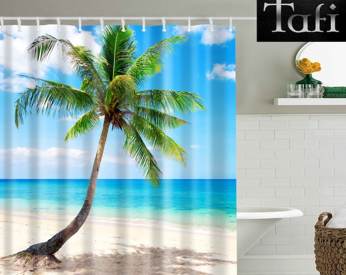 Shower Curtain - 9 Beach Prints - Designer Style Bath Decor Curtains - Waterproof Mildewproof Polyester Surf Shore Palms - 4 Bathroom Sizes