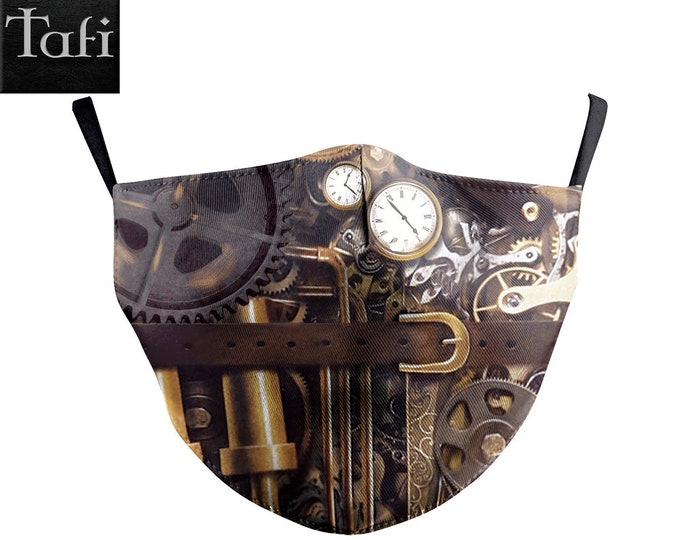 Cloth Masks - 6 Steampunk Styles - Washable Reusable Designer Fashion Shopping Facemask - Works with PM2.5 Filter - Clockwork Gears Scorpion