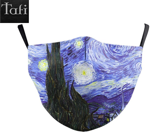 Masks - Starry Night - Cloth Washable Reusable Fashion Shopping Designer Facemask - Uses PM2.5 Filter - Van Gogh Great Wave Art Print Design