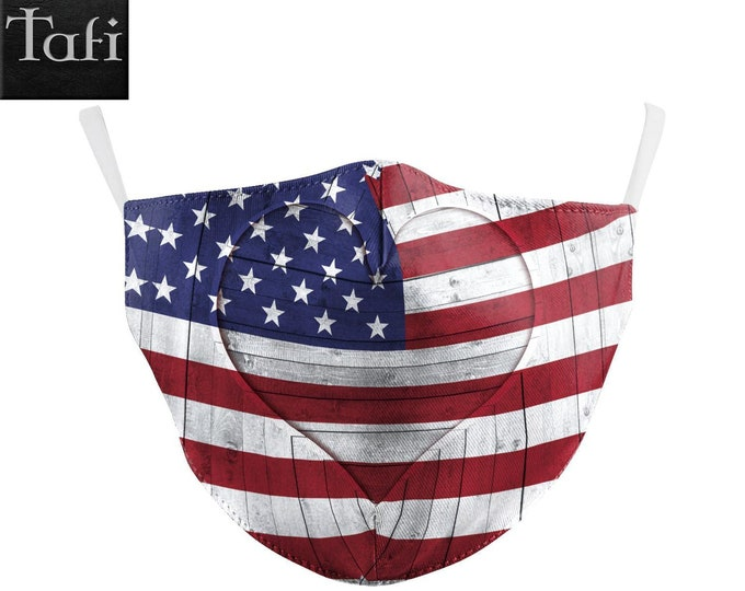 SPECIAL! Cloth Mask - American Heart - Washable Reusable Fashion Shopping Designer Facemask - Uses PM2.5 Filter - US Flag Patriot Design