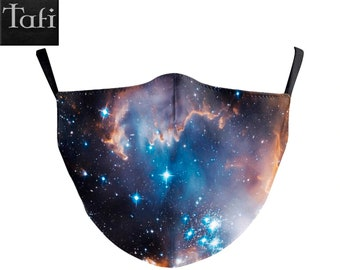Cloth Masks - 6 Galaxy Space Styles - Washable Reusable Fashion Shopping Designer Facemask - Uses PM2.5 Filter - Nebula Stars Print Design