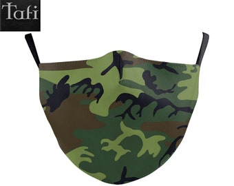 Camo Masks - 6 Camouflage Patterns - Cloth Washable Reusable Fashion Shopping Facemask - Works with PM2.5 Filter - Urban Army Navy Prints