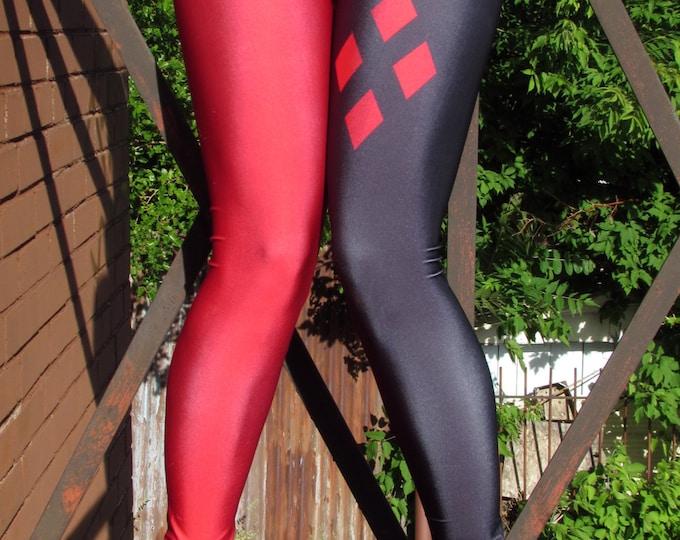 TAFI Harley Quinn Leggings - Batman Comic Cartoon Classic Costume or Yoga Pants Galaxy DC Super Hero CosPlay Print