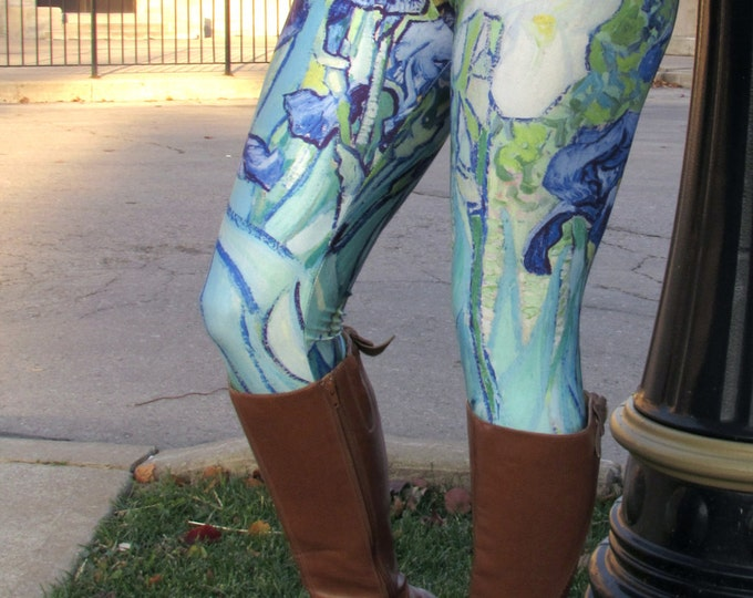 TAFI Van Gogh Irises Leggings - Original Floral 3D Printed Design Galaxy Dance Fashion Yoga Pants