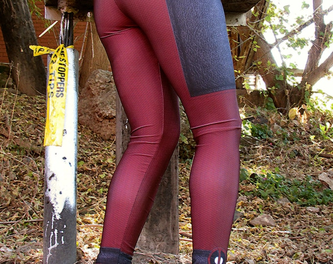TAFI Lady DEADPOOL Costume Leggings Now in 6 SIZES! Affordable Yoga Pants Black Milk Galaxy Sky Marvel Hero Costume CosPlay Print