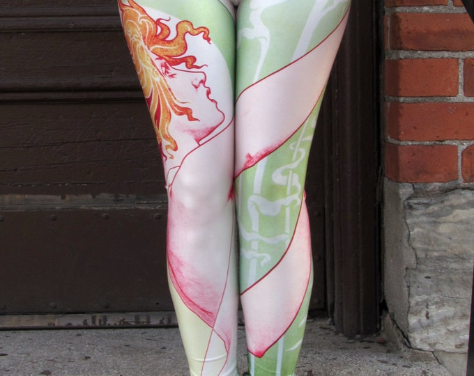 TAFI Absinthe Leggings - Original Robette Art Nouveau 3D Printed Design Galaxy Dance Fashion Yoga Pants