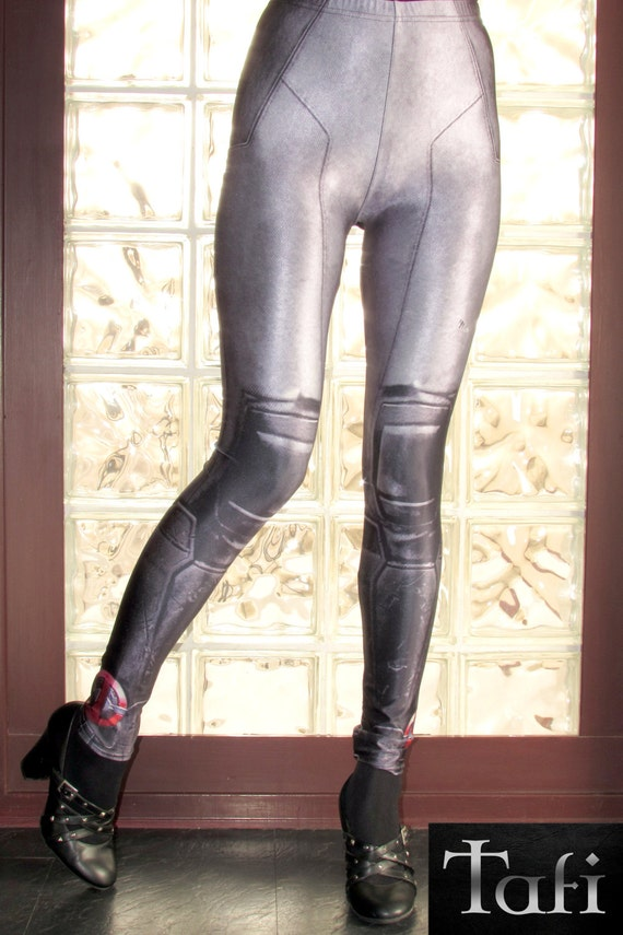 TAFI Deadpool : X-Force Leggings Black-Grey Design Affordable Yoga Pants Galaxy Marvel Hero Costume CosPlay Print