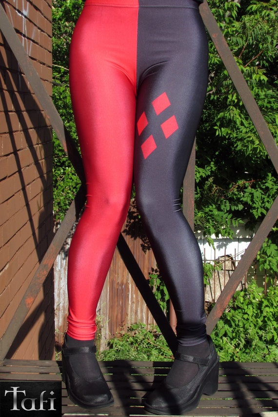 TAFI Harley Quinn Leggings - Batman Comic Cartoon Classic Costume or Yoga Pants Galaxy DC Super Hero CosPlay Print