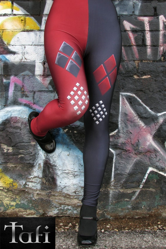 TAFI Harley Arkham Knight Leggings - Batman Dr Quinn Costume or Yoga Pants Galaxy DC Joker Super Hero CosPlay Print