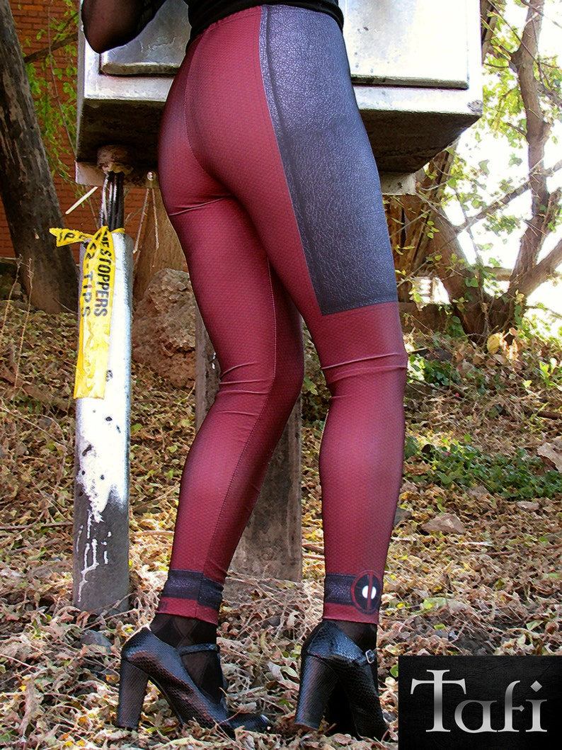 TAFI Lady DEADPOOL Costume Leggings Now in 6 SIZES Affordable  99dbec897f5a5