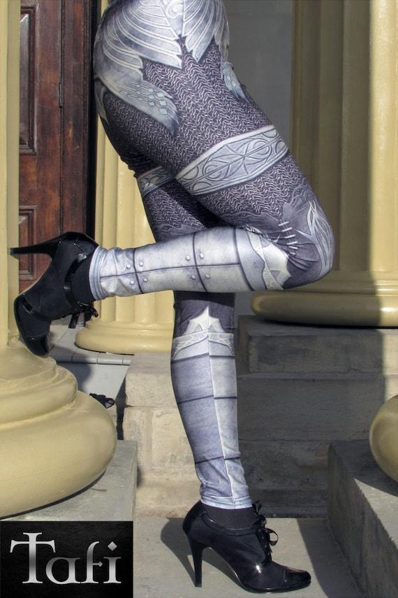 TAFI Steel Armor Leggings - Plate Chain Mail CosPlay Armour 3D Printed Design Galaxy Dance Costume Yoga Pants