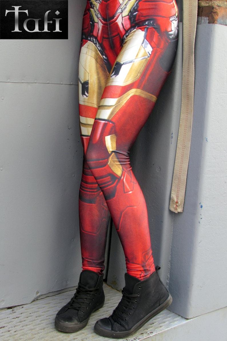 TAFI Iron Man Armor Leggings - Avengers Infinity War Spider-Man Homecoming  Captain America Marvel Pants Super Hero CosPlay Print