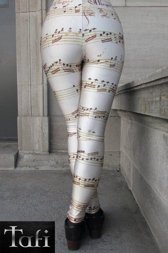 TAFI Mozart Sonata Leggings - 1780 Allegro Molto Hand-written Sheet Music Notes Yoga Pants Galaxy CosPlay Print