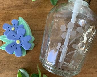 Soap Gift Set, Spa Gift Set, Mother's Day, Gifts for Her, Gifts for Mom, Soap Dispenser, Flower Soap, Flower Gift Set, Flower Lover, Glass
