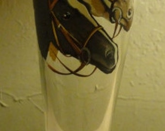 Four Vintage Horse Decal Glasses