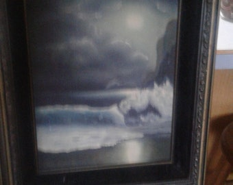 Vintage Seacape On Canvas/Unsigned/ Waves/ Surf/ Beach/ Cliffs/ Clouds