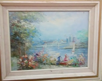 Vintage Impressionist Oil OK n Canvas/Ladies/ Rowboat/ Sailboats/Village/Town/Trees/Lake/Signed