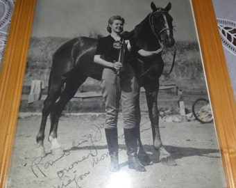 Vintage Girl and Horse Photo/ Ramblin Joe?Signed
