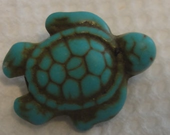 Howlite Turquoise Carved Turtle Bead
