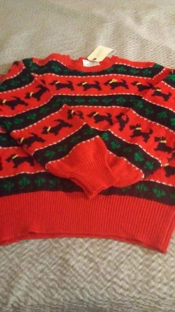 Vintage Wool Susan Bristol Scotty Dog Sweater/ Nev