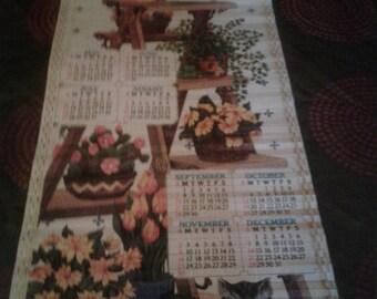 Vintage 1986/1987 Double- Sided /Long Calendar/ Flower Pot/Frog/ Butterfly/ Kitten/Umbrella/Hummel Style Boy and Girl