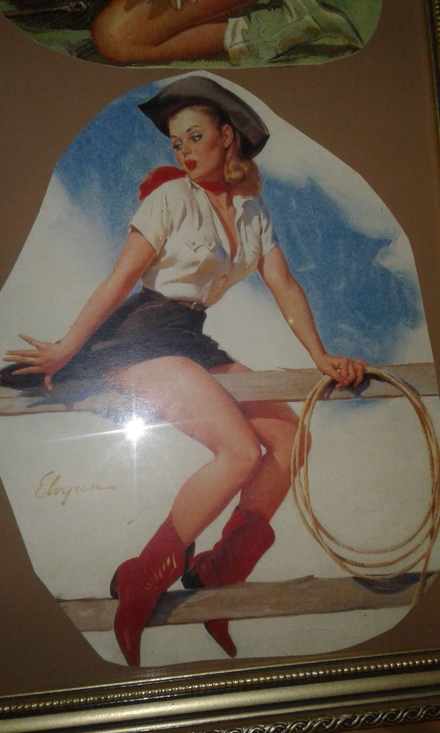Vintage Western Cowgirl Pin-Ups Print Print Print   Signed   Western Hats Bandanna  botas  Gloves  Gun Lariat  Calf Roping  Saddle Bronc Sitting on Fence  89814d