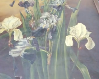 Antique 1896 Floral Oil Painting/ Signed/ Dated
