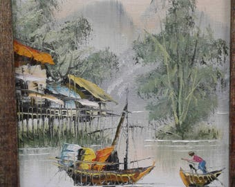 Vintage Asian Impressionist Painting on Board /Signed Ranbo/Huts/Boats/Fisherman