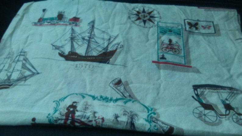 Vintage 1970s Cotton Curtain Panel Irish Setter Clipper Ship Hunter Compass Rose