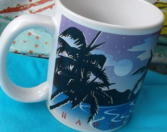 Vintage  1996 Hawaii  Mug/Palm Trees/Ocean/  Ship/Sailboats