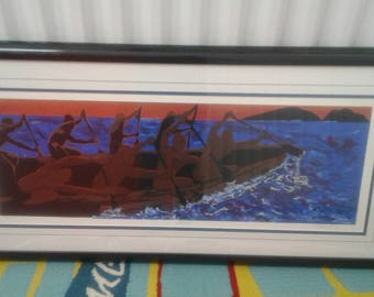 "Vintage  Serigraph By Renoun African Artist William Crite/   Titled ""Strokin""/ Number/ Signed/ OceanI/Island"