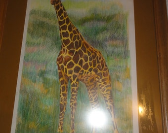 Vintage 1984 Giraffe Art/ Framed/Signed/ Dated